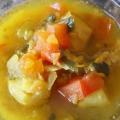 Vieira y azafrán Sopa