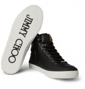 Relieve cuero-cocodrilo Jimmy Choo Belgravia High Top Sneakers_2